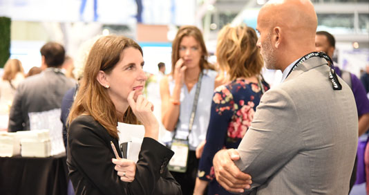 GBTA Convention 2018 Expo floor - people talking